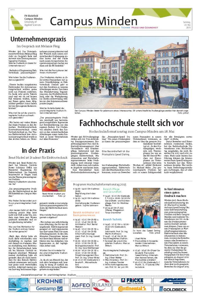 Fachhochschule Bielefeld Minden Artikel Mindener Tageblatt