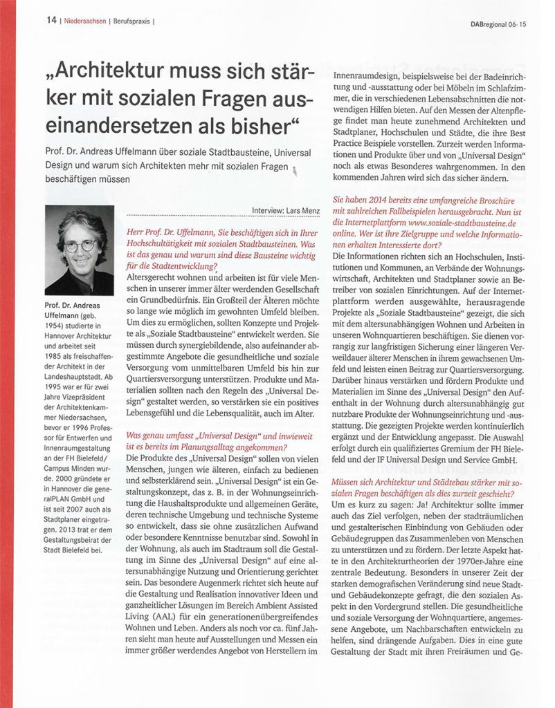 Artikel Deutsches Architektenblatt