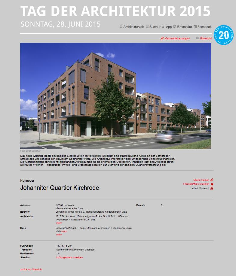Tag der Architektur 2015 - Johanniter Quartier Kirchrode