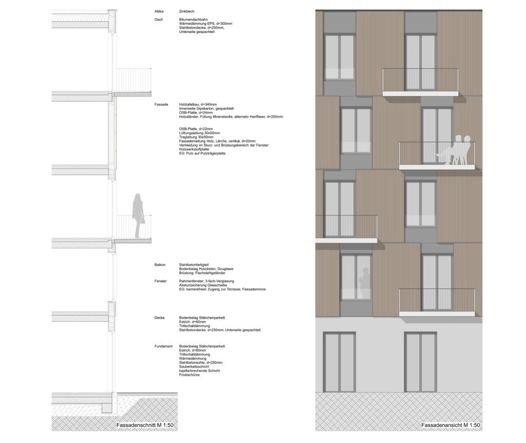 Fassadenschnitt © btp architekten brandenburg tebarth partnerschaft mbB