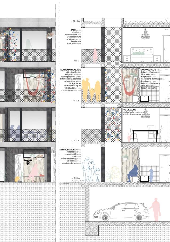 Fassadenschnitt © Architekten Höhlich und Schmotz